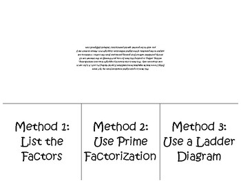 Greatest Common Factor Foldable for Interactive Notebook