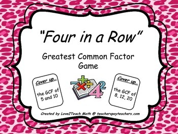 Greatest Common Factor- Four in a Row Game