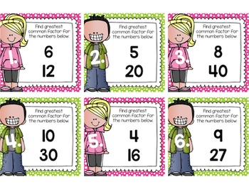 Greatest Common Factor (GCF) Task Cards for Centers, Scoot, & Test Prep