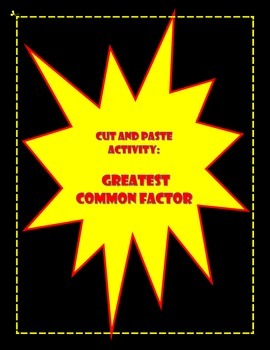 Greatest Common Factor (GCF) Activity
