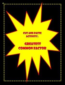 Greatest Common Factor (GCF) Activity