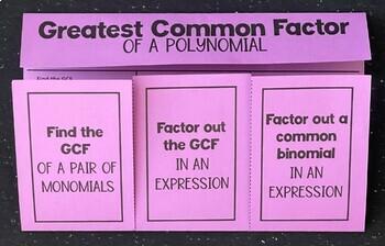 Greatest Common Factor- GCF (Algebra Foldable)
