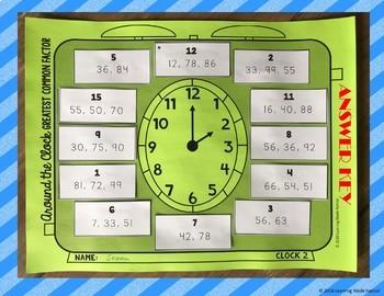 Greatest Common Factor (GCF) Around the Clock Partner Scavenger Hunt Activity