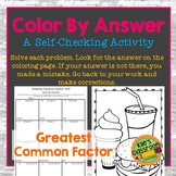 Greatest Common Factor GCF Color By Answer