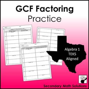 GCF Factoring Practice (A10D)