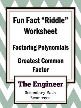 "Greatest Common Factor (GCF) Fun Fact Worksheet / ""Riddle"" Worksheet / Homework"