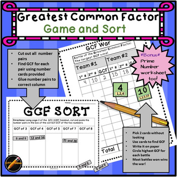 Greatest Common Factor (GCF) Game and Sort