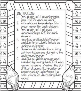 Greatest Common Factor (GCF) Gingerbread House Craftivity Glyph