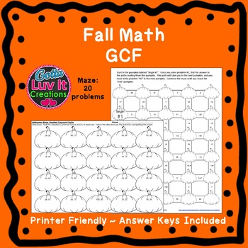 Autumn Greatest Common Factor GCF Halloween Math Activity