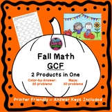 Halloween Math Activities Greatest Common Factor GCF Color