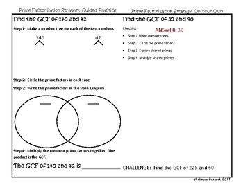 Greatest Common Factor (GCF) Interactive Notebook Pages