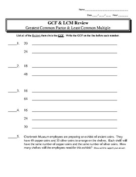 Greatest Common Factor GCF & Least Common Multiple LCM Review