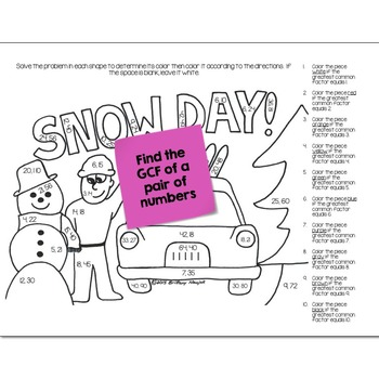 Greatest Common Factor (GCF) Math Practice Snow Day Color by Number