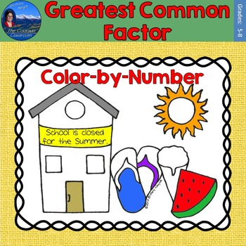 Greatest Common Factor (GCF) Math Practice End of Year Color by Number