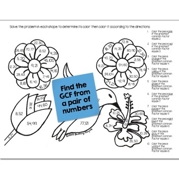 Greatest Common Factor (GCF) Math Practice May Flowers Color by Number