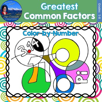 Greatest Common Factor (GCF) Math Practice Pi Day Color by Number
