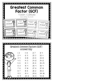 Greatest Common Factor GCF Task Cards