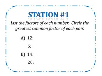 Greatest Common Factor (GCF) Stations