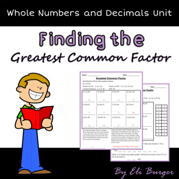 Greatest Common Factor (GCF) Worksheets