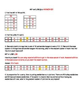 Greatest Common Factor (GCF) and Least Common Multiple (LCM) Quick Check Quiz