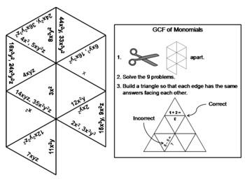 Greatest Common Factor (GCF) of Monomials Game: Math Tarsia Puzzle