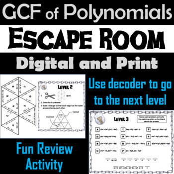 Greatest Common Factor (GCF) of Polynomials Game: Algebra Escape Room Math