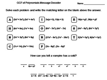 Greatest Common Factor GCF of Polynomials Worksheet: Math Message Decoder