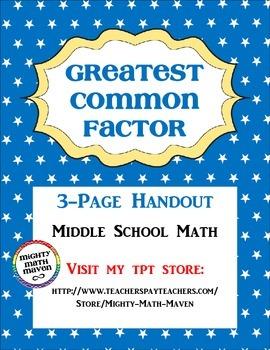 Greatest Common Factor Handout - Middle School