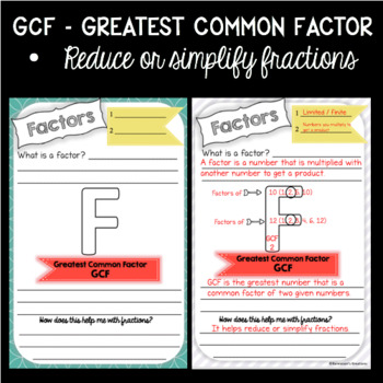 Greatest Common Factor Interactive Math Journal with Task Cards