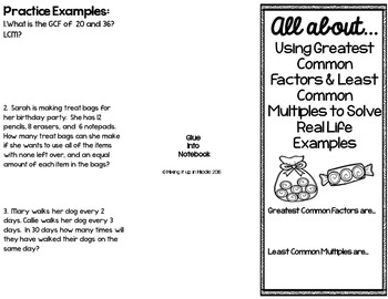 Greatest Common Factor & Least Common Multiple Brochure for Notebooks