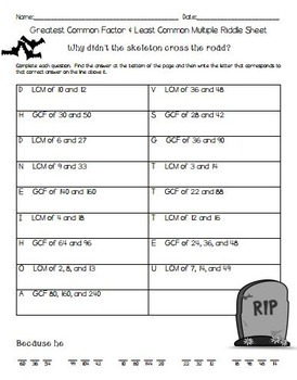 Greatest Common Factor & Least Common Multiple Halloween Riddle Sheet