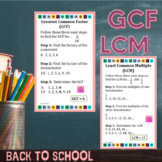 Greatest Common Factor & Least Common Multiple Math Poster