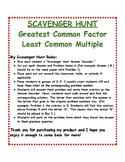 Greatest Common Factor & Least Common Multiple: Scavenger Hunt