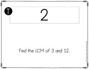 GCF & LCM Greatest Common Factor & Least Common Multiple Scavenger Hunt