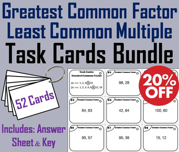 Greatest Common Factor & Least Common Multiple Task Cards: