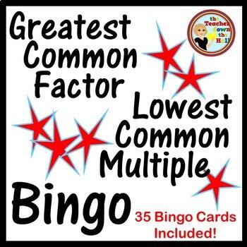 Greatest Common Factor / Lowest Common Multiple Bingo w/ 35 Bingo Cards!