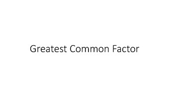 Greatest Common Factor Math Center
