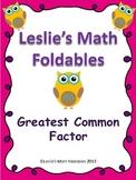 Greatest Common Factor Math Foldable