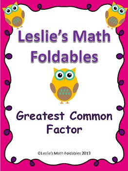 Greatest Common Factor Math Foldable