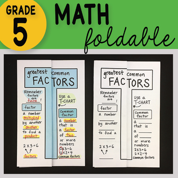 Greatest Common Factor Math Interactive Notebook Foldable