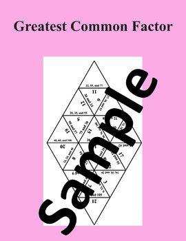 Greatest Common Factor – Math puzzle
