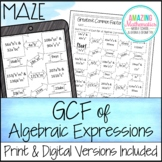 Greatest Common Factor of Algebraic Expressions Worksheet - Maze Activity
