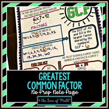 Greatest Common Factor No Prep Note Page