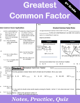 Greatest Common Factor Notes