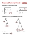 Greatest Common Factor Notes (3 ways to find GCF)