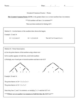 Greatest Common Factor Notes and Classwork