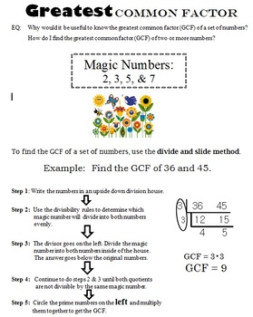 Greatest Common Factor / Numbers / Fractions / Module 5 / Spring / Handout