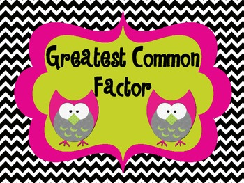 Greatest Common Factor Packet