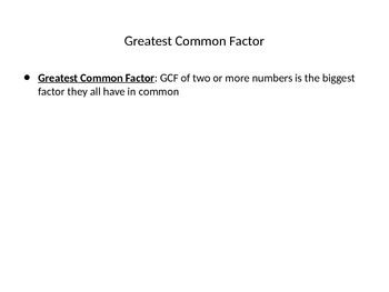 Greatest Common Factor Powerpoint