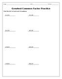 Greatest Common Factor Practice Worksheet